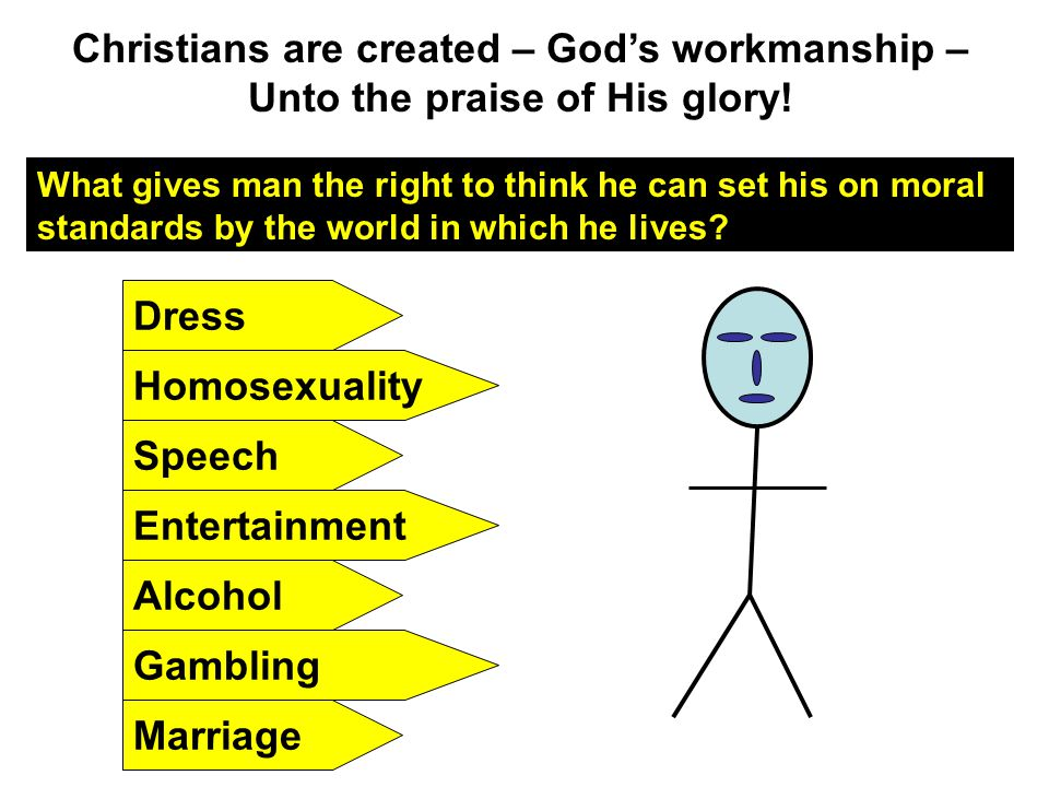 Christians are created – God's workmanship – Unto the praise of His glory! What gives man the right to think he can set his on moral standards by the