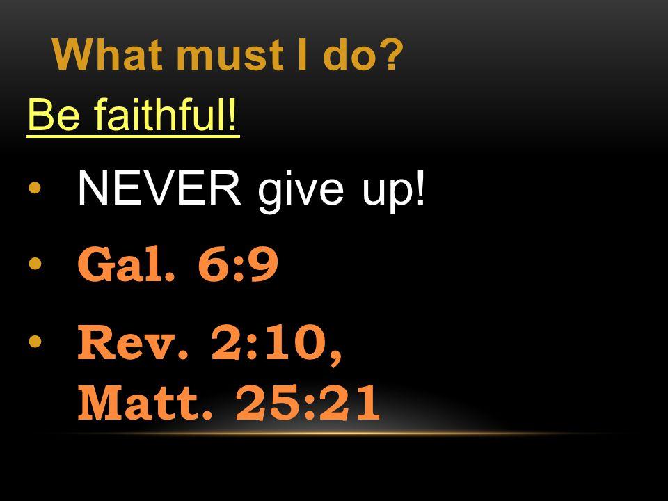 What must I do Be faithful! NEVER give up! Gal. 6:9 Rev. 2:10, Matt. 25:21