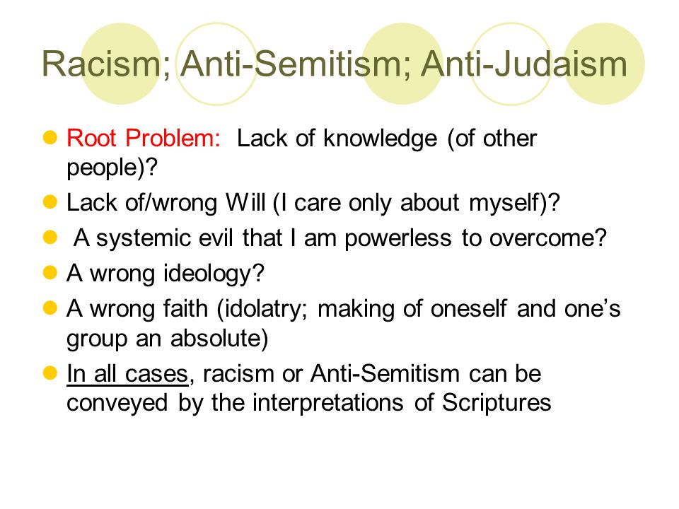 Racism; Anti-Semitism; Anti-Judaism Root Problem: Lack of knowledge (of other people).