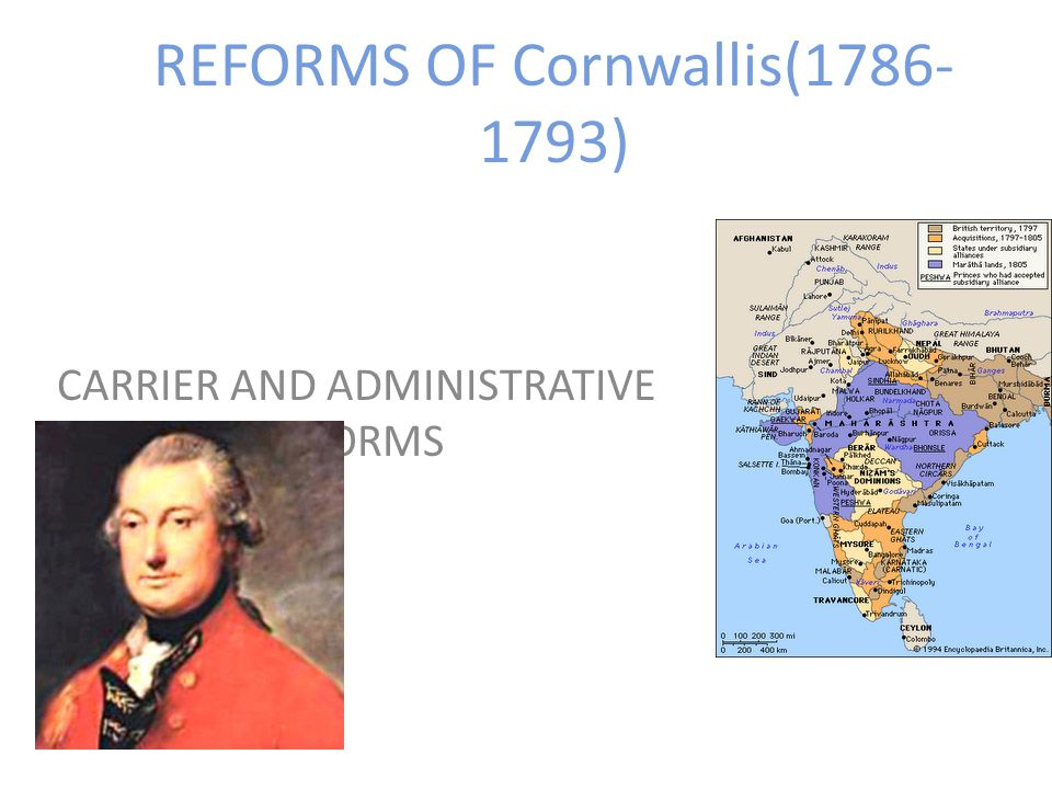 REFORMS OF Cornwallis(1786- 1793) CARRIER AND ADMINISTRATIVE REFORMS