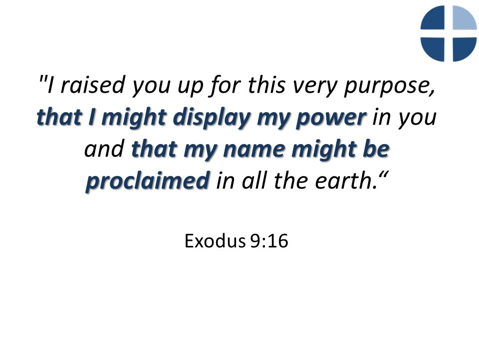 that I might display my power that my name might be proclaimed I raised you up for this very purpose, that I might display my power in you and that my name might be proclaimed in all the earth. Exodus 9:16