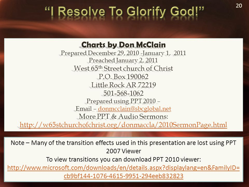 20 Charts by Don McClain Prepared December 29, 2010 -January 1, 2011 Preached January 2, 2011 West 65 th Street church of Christ P.O. Box 190062 Littl