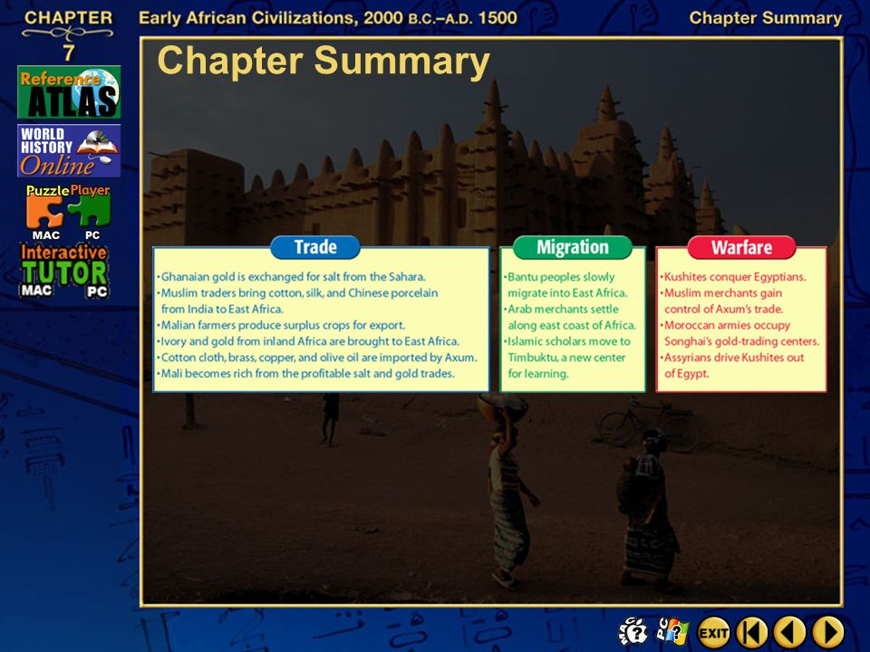 Chapter Summary 1 Chapter Summary African civilizations did not develop in a vacuum. As far back as the ancient Egyptians, African civilizations were