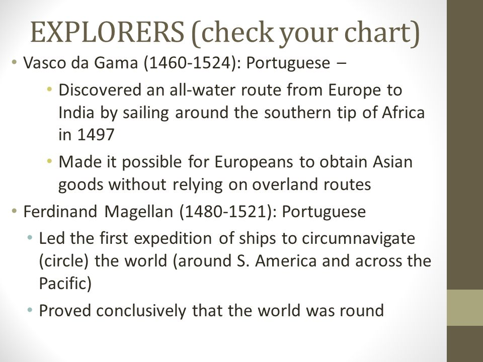 EXPLORERS (check your chart) Vasco da Gama (1460-1524): Portuguese – Discovered an all-water route from Europe to India by sailing around the southern