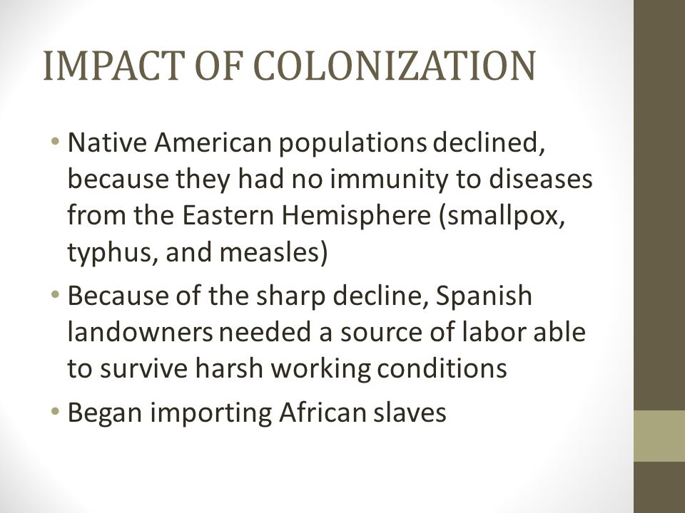 ATLANTIC SLAVE TRADE Had existed long before European intervention Expanded on a scale unparalleled in human history Usually captured by African tribes in raids on villages Brought to the West Coast to trade/sell to European and American slave traders for guns and other goods As many as 15 million Africans were taken over a 300 year period (more than 11 million to Spanish colonies) Many died during the Middle Passage because of horrible conditions on board the ships Most worked in sugar fields (Caribbean and Brazil) or raising cotton or tobacco (N.
