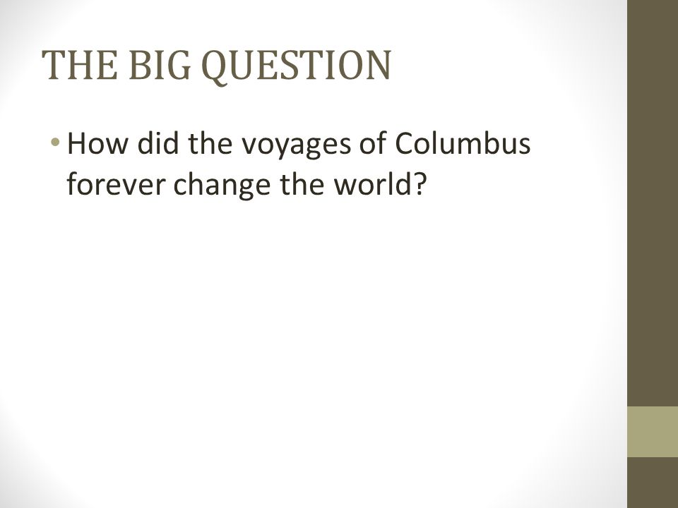 THE BIG QUESTION How did the voyages of Columbus forever change the world?