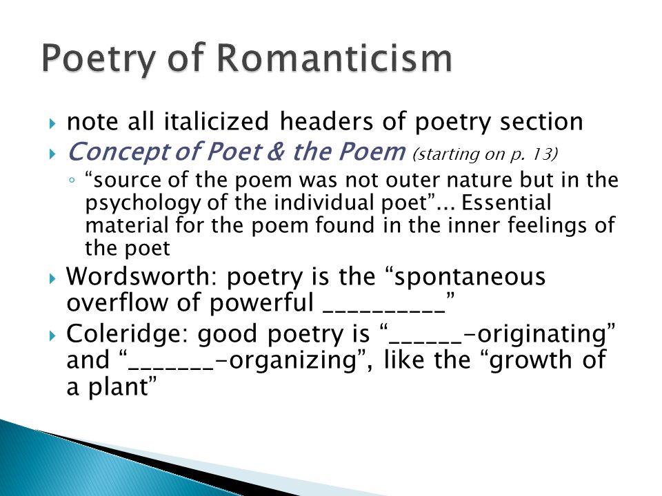  note all italicized headers of poetry section  Concept of Poet & the Poem (starting on p.