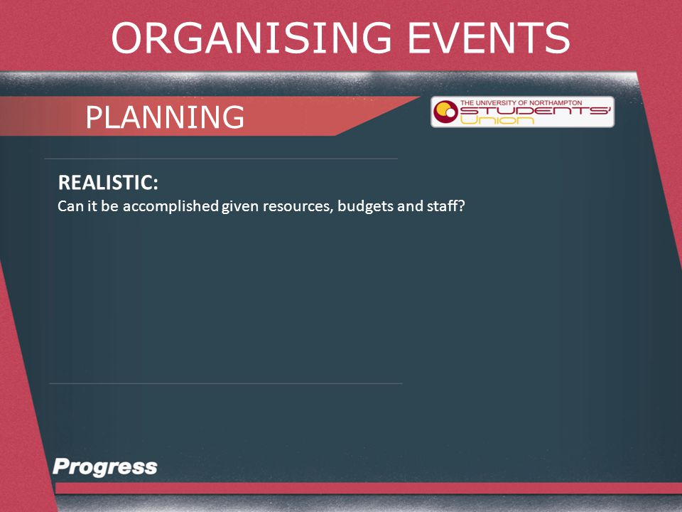 ORGANISING EVENTS PLANNING REALISTIC: Can it be accomplished given resources, budgets and staff