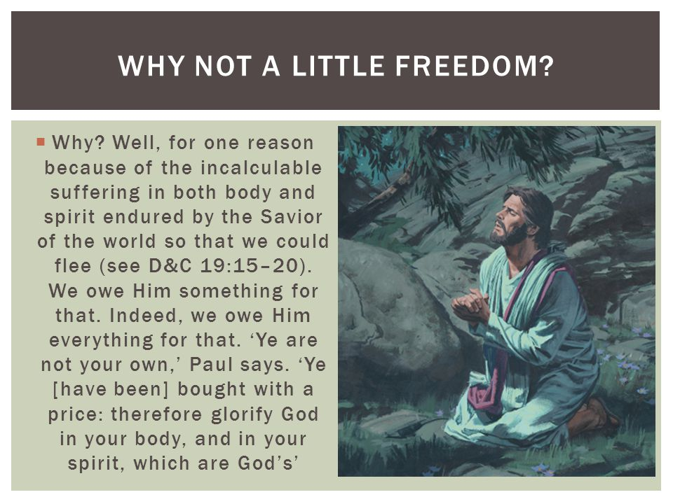  Why? Well, for one reason because of the incalculable suffering in both body and spirit endured by the Savior of the world so that we could flee (se