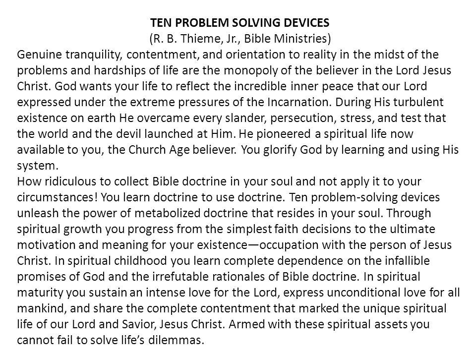 TEN PROBLEM SOLVING DEVICES (R. B.