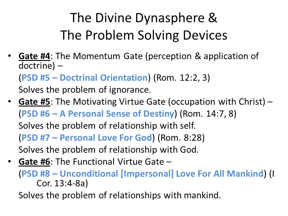Gate #4: The Momentum Gate (perception & application of doctrine) – (PSD #5 – Doctrinal Orientation) (Rom.