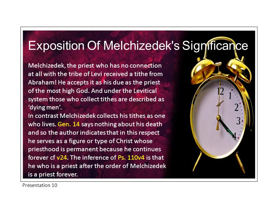 Melchizedek, the priest who has no connection at all with the tribe of Levi received a tithe from Abraham.