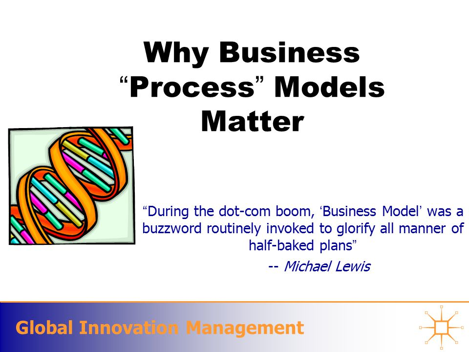 Global Innovation Management Why Business Process Models Matter During the dot-com boom, 'Business Model' was a buzzword routinely invoked to glorify all manner of half-baked plans -- Michael Lewis