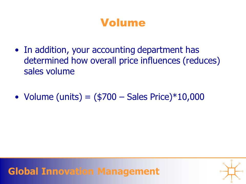 Global Innovation Management Volume In addition, your accounting department has determined how overall price influences (reduces) sales volume Volume (units) = ($700 – Sales Price)*10,000