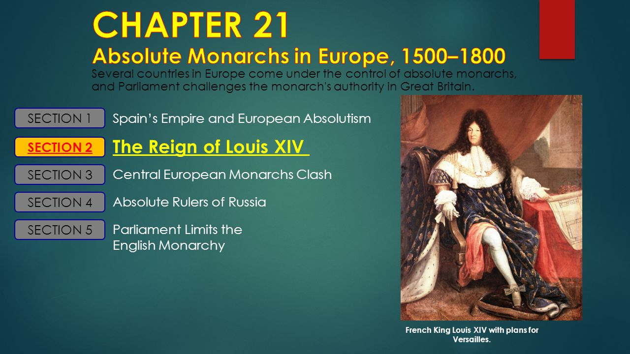 SECTION 1 SECTION 2 SECTION 3 SECTION 4 Spain's Empire and European Absolutism The Reign of Louis XIV Central European Monarchs Clash Absolute Rulers