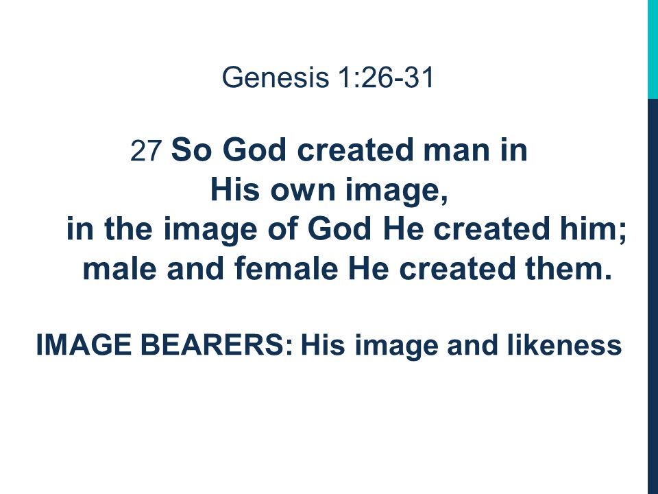 Genesis 1:26 IMAGE BEARERS: in Hebrew the expression is in our image, in our likeness. Which means that God made human beings to BE His image and likeness.