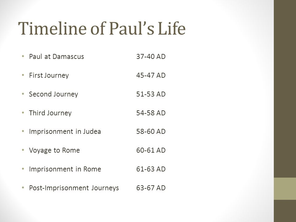 Timeline of Paul's Life Paul at Damascus37-40 AD First Journey45-47 AD Second Journey51-53 AD Third Journey54-58 AD Imprisonment in Judea58-60 AD Voyage to Rome60-61 AD Imprisonment in Rome61-63 AD Post-Imprisonment Journeys63-67 AD