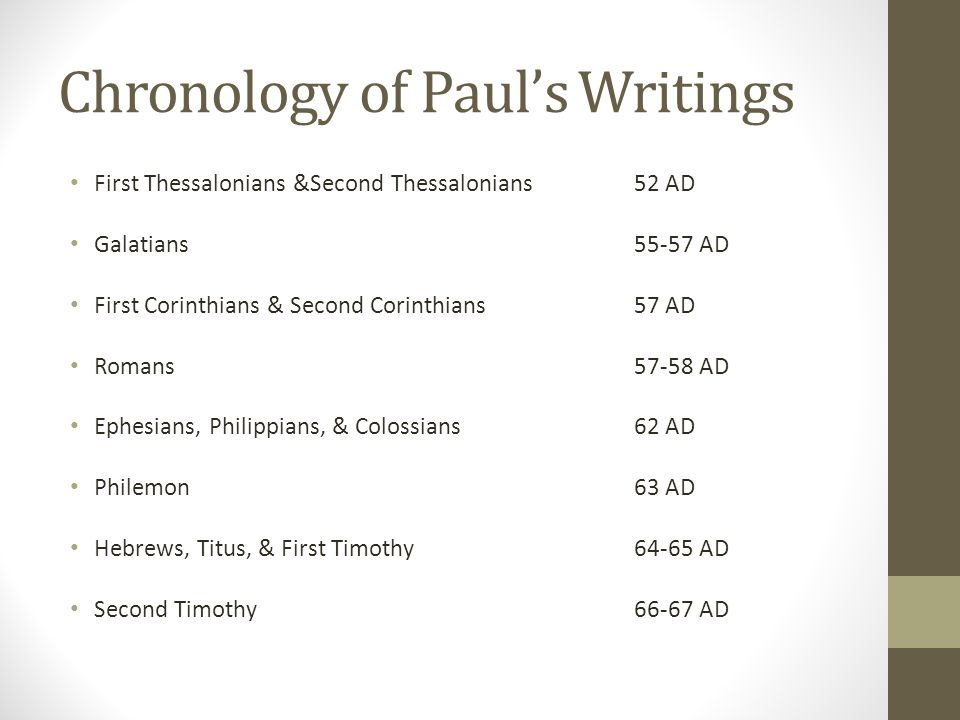 Chronology of Paul's Writings First Thessalonians &Second Thessalonians52 AD Galatians55-57 AD First Corinthians & Second Corinthians57 AD Romans57-58 AD Ephesians, Philippians, & Colossians62 AD Philemon63 AD Hebrews, Titus, & First Timothy64-65 AD Second Timothy66-67 AD