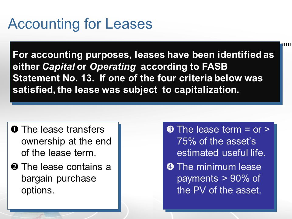 Accounting for Leases  The lease transfers ownership at the end of the lease term.