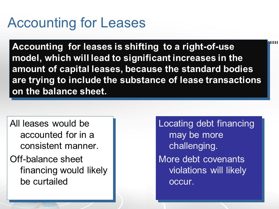 Accounting for Leases All leases would be accounted for in a consistent manner.