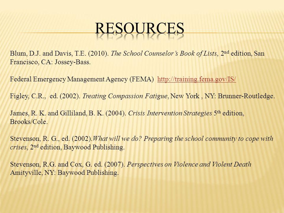 Blum, D.J. and Davis, T.E. (2010).