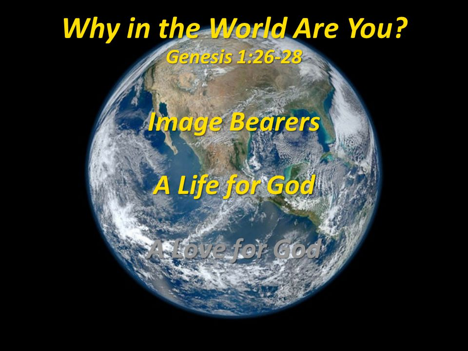 Why in the World Are You? Genesis 1:26-28 Image Bearers A Life for God A Love for God