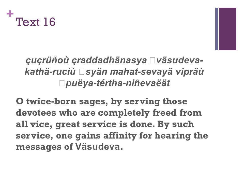+ Text 16 çuçrüñoù çraddadhänasya väsudeva- kathä-ruciù syän mahat-sevayä vipräù puëya-tértha-niñevaëät O twice-born sages, by serving those devotees who are completely freed from all vice, great service is done.