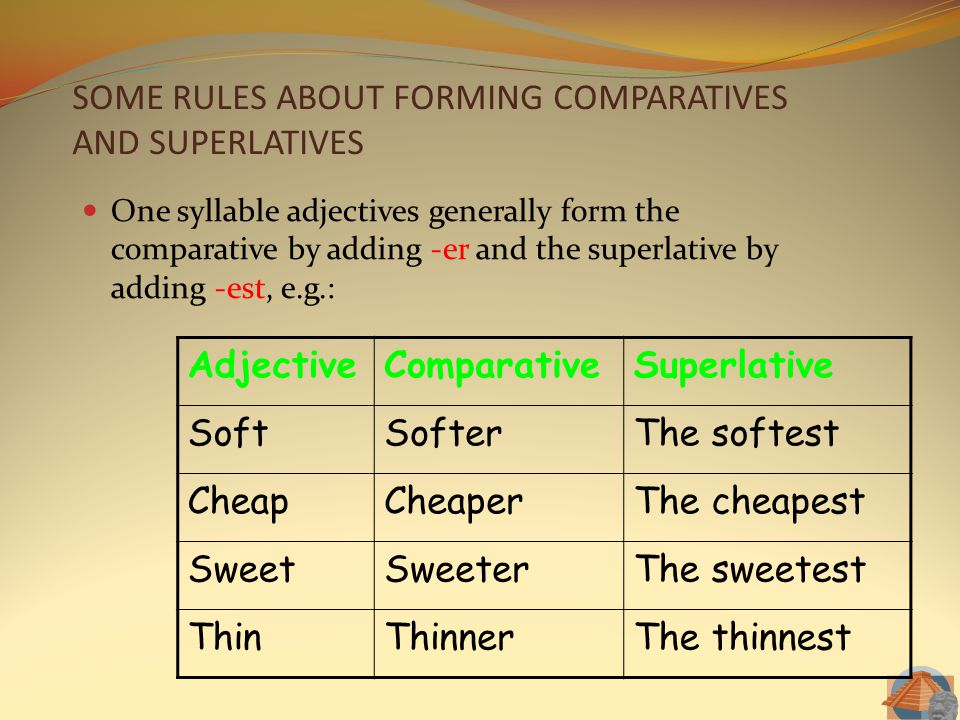 SOME RULES ABOUT FORMING COMPARATIVES AND SUPERLATIVES One syllable adjectives generally form the comparative by adding -er and the superlative by add
