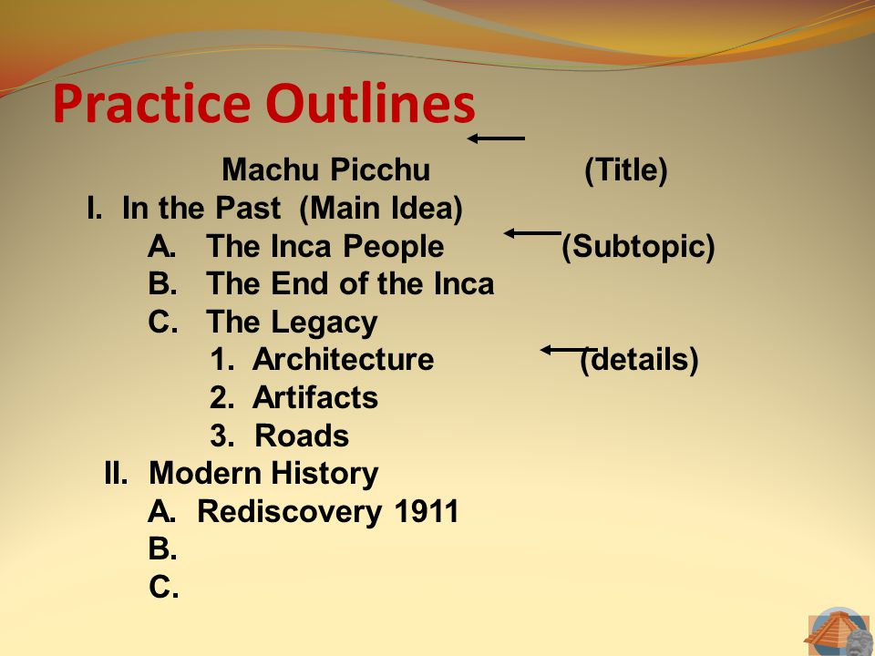 Practice Outlines Machu Picchu (Title) I. In the Past (Main Idea) A. The Inca People (Subtopic) B. The End of the Inca C. The Legacy 1. Architecture (
