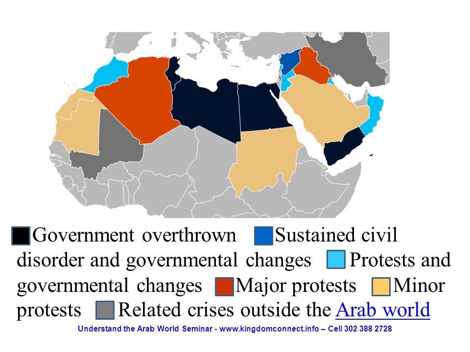 Government overthrown Sustained civil disorder and governmental changes Protests and governmental changes Major protests Minor protests Related crises outside the Arab worldArab world Understand the Arab World Seminar - www.kingdomconnect.info – Cell 302 388 2728