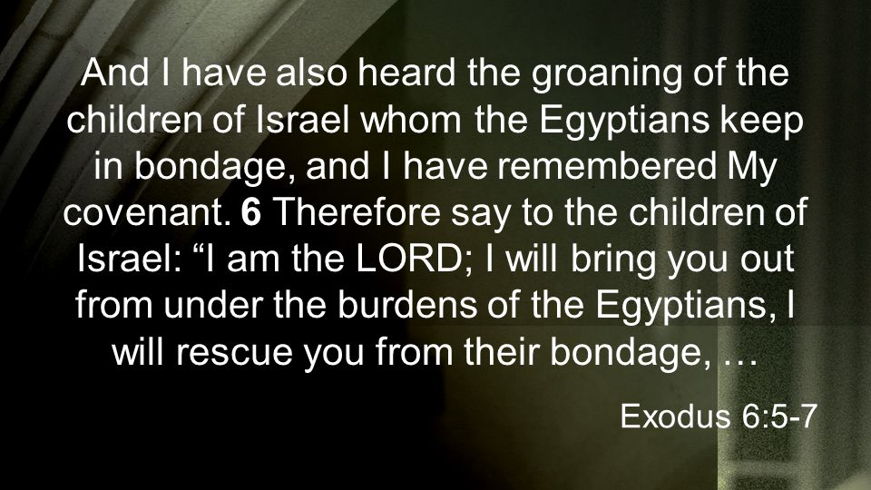 And I have also heard the groaning of the children of Israel whom the Egyptians keep in bondage, and I have remembered My covenant. 6 Therefore say to