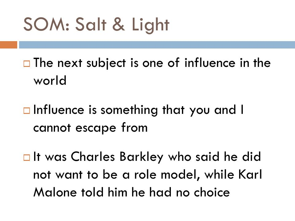 SOM: Salt & Light  The next subject is one of influence in the world  Influence is something that you and I cannot escape from  It was Charles Barkley who said he did not want to be a role model, while Karl Malone told him he had no choice