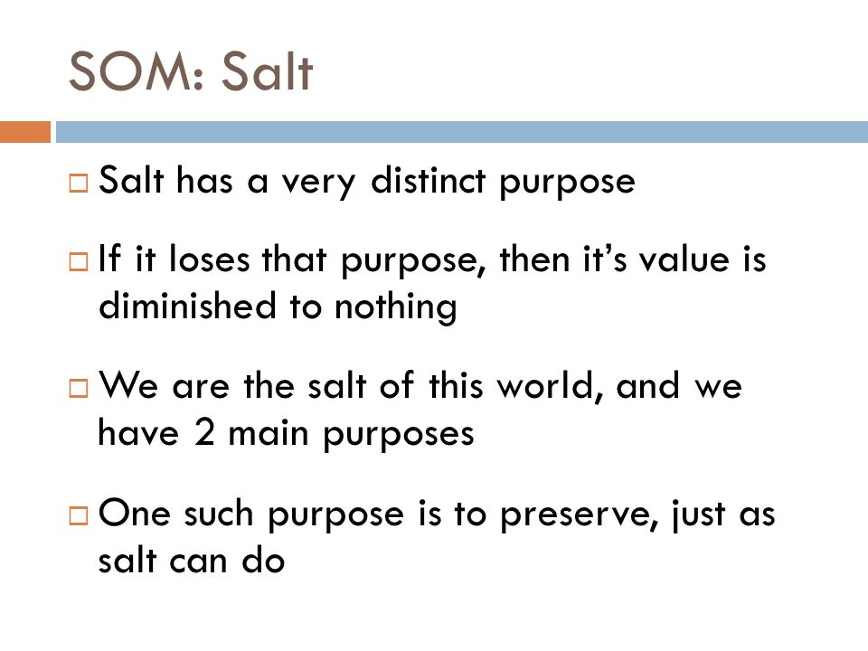 SOM: Salt  Salt has a very distinct purpose  If it loses that purpose, then it's value is diminished to nothing  We are the salt of this world, and