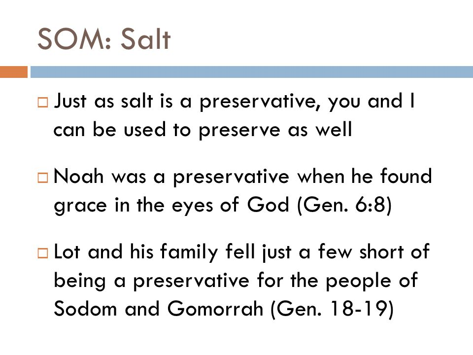 SOM: Salt  We too can be that preservative in the world today  It's no secret that our world is pushing away from God  While we might long for the coming of the Lord, those who are lost need all the time they can get to find Christ