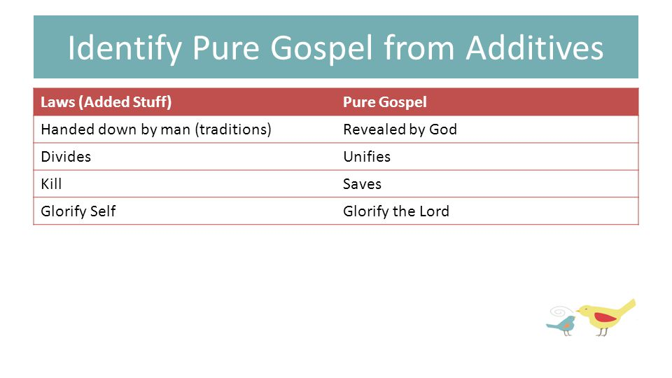 Identify Pure Gospel from Additives Laws (Added Stuff)Pure Gospel Handed down by man (traditions)Revealed by God DividesUnifies KillSaves Glorify SelfGlorify the Lord