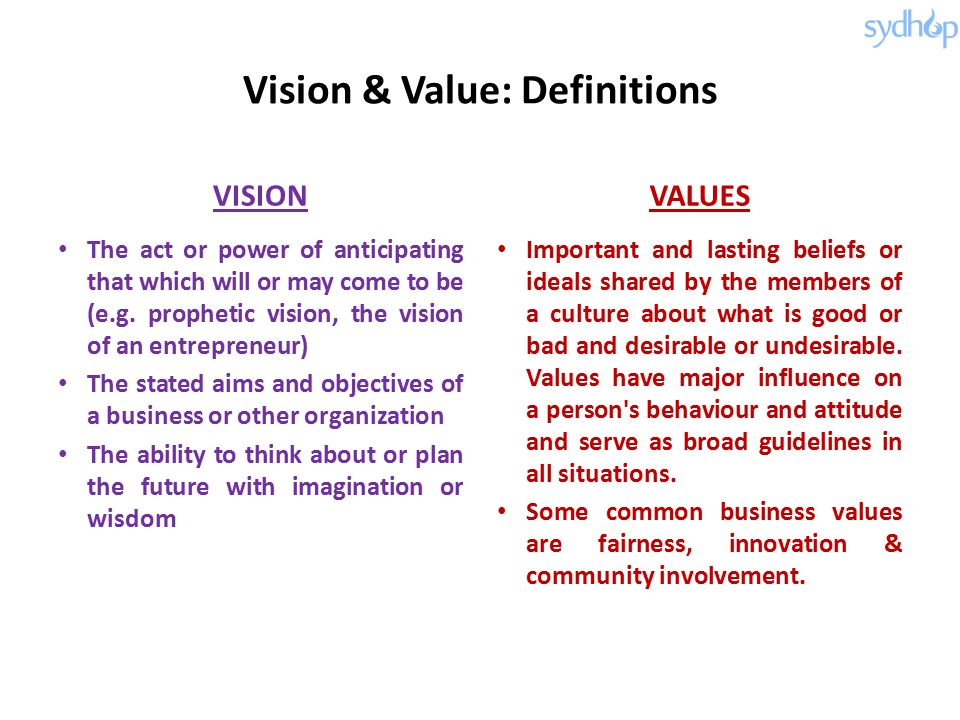 Vision & Value: Definitions VISION The act or power of anticipating that which will or may come to be (e.g.