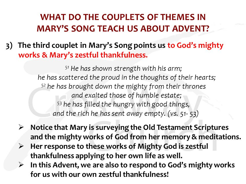 WHAT DO THE COUPLETS OF THEMES IN MARY'S SONG TEACH US ABOUT ADVENT.