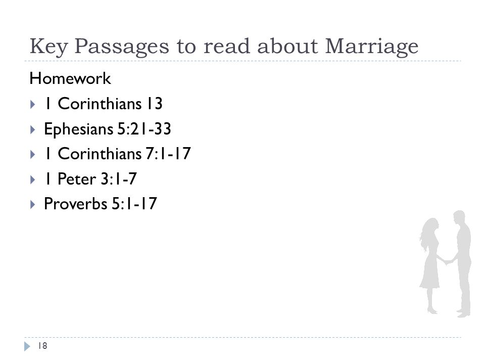 Key Passages to read about Marriage 18 Homework  1 Corinthians 13  Ephesians 5:21-33  1 Corinthians 7:1-17  1 Peter 3:1-7  Proverbs 5:1-17