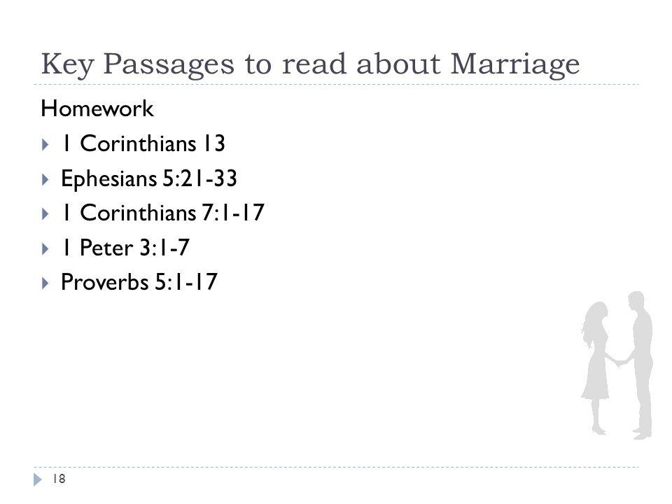 Key Passages to read about Marriage 18 Homework  1 Corinthians 13  Ephesians 5:21-33  1 Corinthians 7:1-17  1 Peter 3:1-7  Proverbs 5:1-17