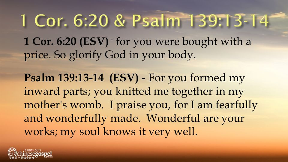 1 Cor. 6:20 (ESV) - for you were bought with a price.
