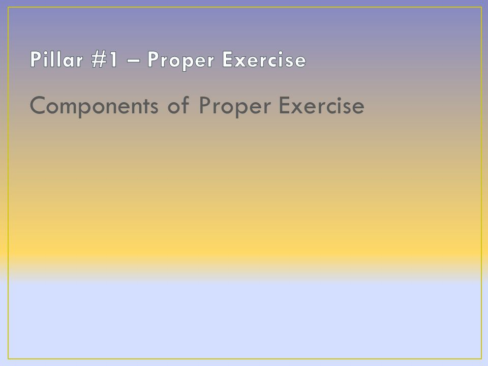 Components of Proper Exercise