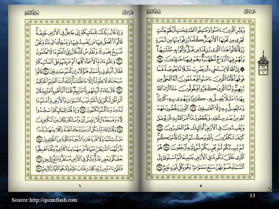13 Quran Source: http://quranflash.com