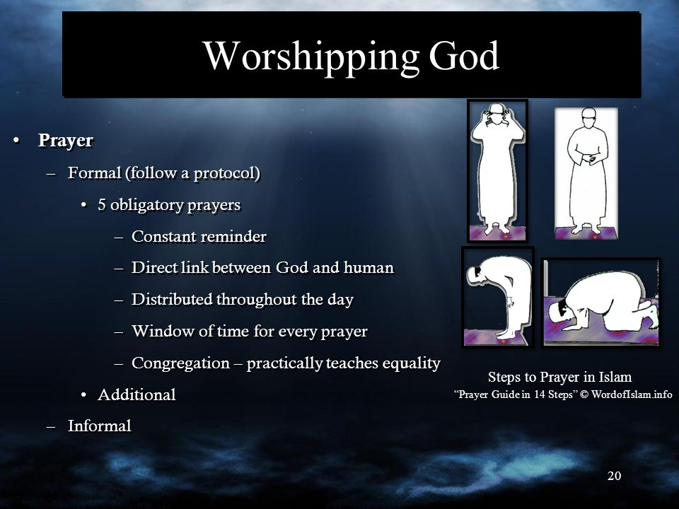 20 Worshipping God Prayer –Formal (follow a protocol) 5 obligatory prayers –Constant reminder –Direct link between God and human –Distributed througho