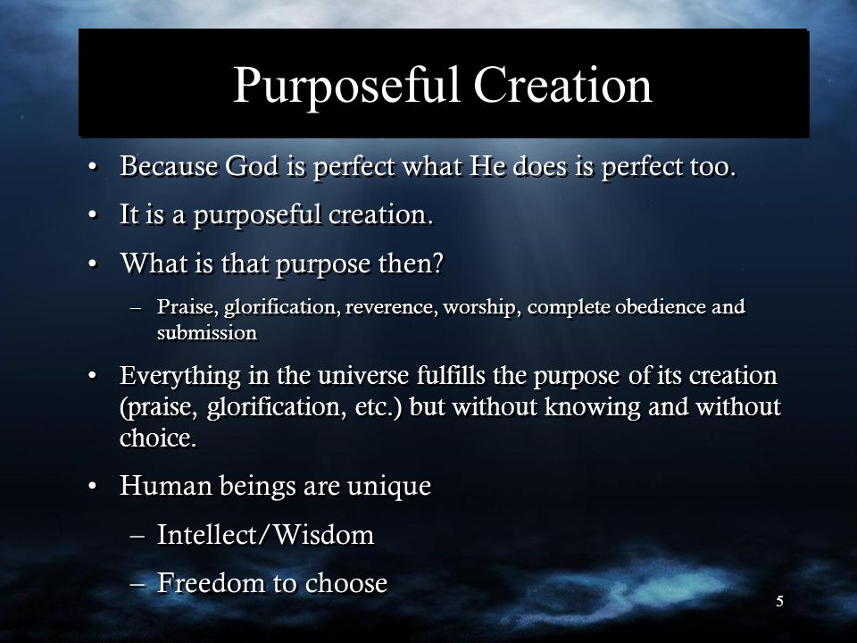 5 Purposeful Creation Because God is perfect what He does is perfect too. It is a purposeful creation. What is that purpose then? –Praise, glorificati