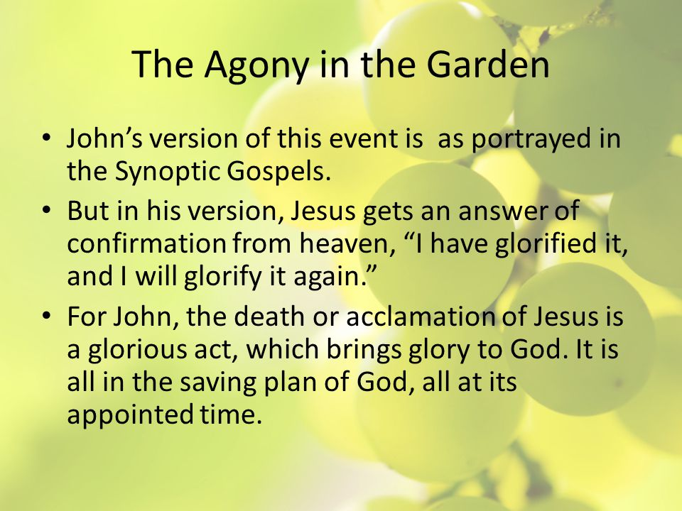 The Agony in the Garden John shows Jesus at his best.