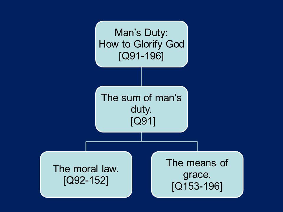 Man's Duty: How to Glorify God [Q91-196] The sum of man's duty.