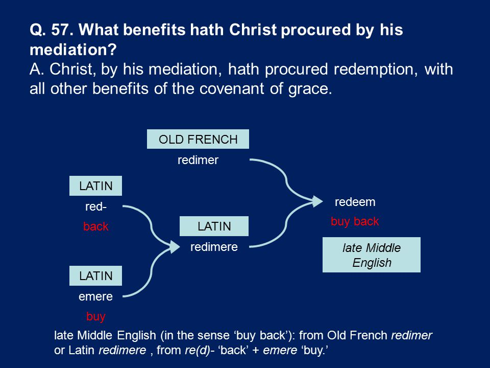 Q. 57. What benefits hath Christ procured by his mediation? A. Christ, by his mediation, hath procured redemption, with all other benefits of the cove