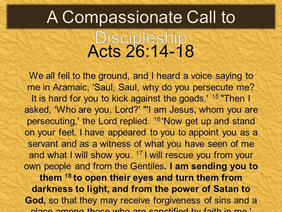 Acts 26:14-18 We all fell to the ground, and I heard a voice saying to me in Aramaic, Saul, Saul, why do you persecute me.