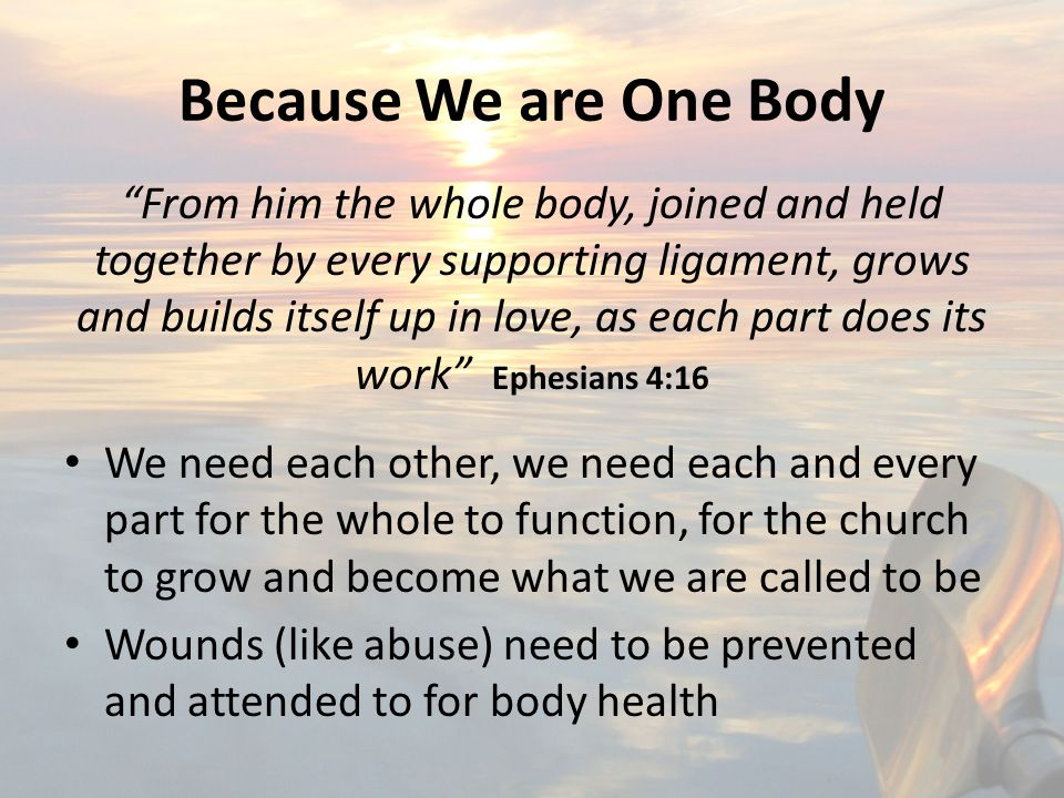 Because We are One Body From him the whole body, joined and held together by every supporting ligament, grows and builds itself up in love, as each part does its work Ephesians 4:16 We need each other, we need each and every part for the whole to function, for the church to grow and become what we are called to be Wounds (like abuse) need to be prevented and attended to for body health