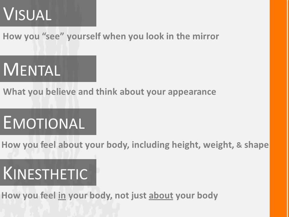 How you see yourself when you look in the mirror V ISUAL K INESTHETIC E MOTIONAL M ENTAL What you believe and think about your appearance How you feel about your body, including height, weight, & shape How you feel in your body, not just about your body